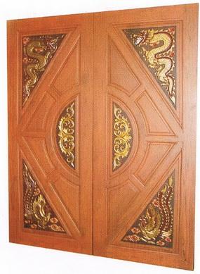 ประตูไม้สักสามเหลี่ยม มังกรหงส์