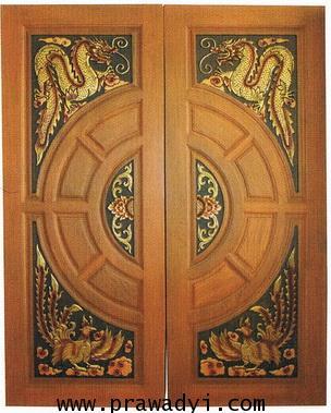 ประตูไม้สัก วงล้อมังกรหงส์