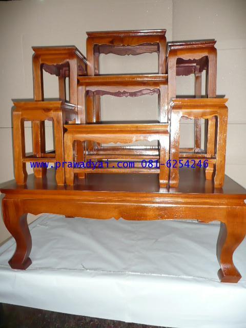 โต๊ะหมู่บูชา หมู่ 7 หน้า 8 ขาตรง เคลือบเงา สีเนื้อไม้ (KT40K)