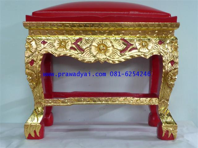 โต๊ะกราบพระ หน้า 10 ขาสิงห์ แกะลายดอกไม้ปิดทอง เบาะแดง