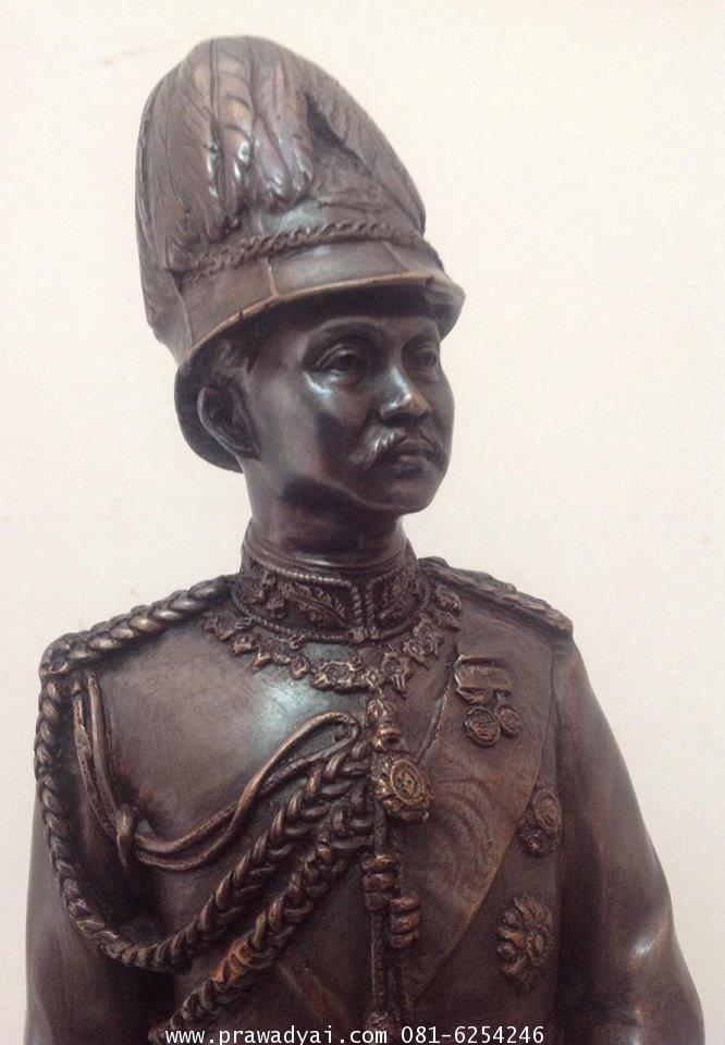 รูปหล่อรัชกาล ในหลวงรัชกาลที่ 5 ชุดทหาร สวมหมวก
