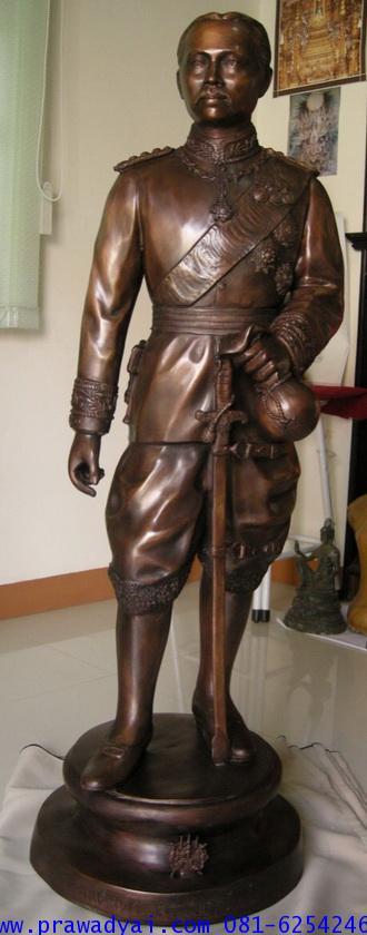 รูปหล่อรัชกาลที่ 5 ประทับยืน ถือถุงทอง สูง 130cm