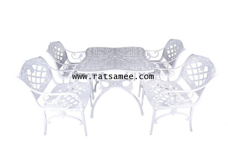 ชุดอัลลอยด์ลายเบญจรงค์โต๊ะเหลี่ยม สีขาว