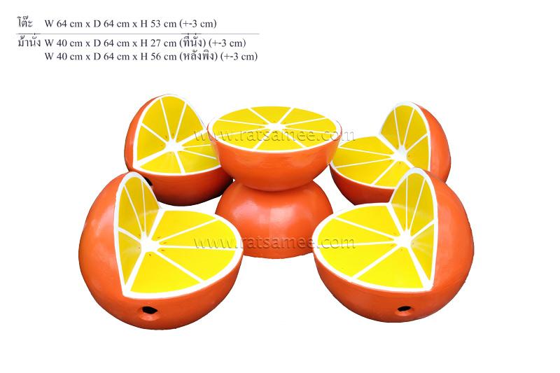 ชุดหินลายผลไม้เล็กส้ม