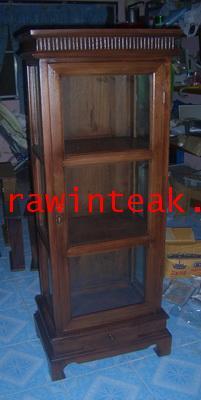 จำหน่ายเฟอร์นิเจอร์ไม้สัก ตู้โชว์ไม้สัก 1บานประตู 3 ชั้นวางของ