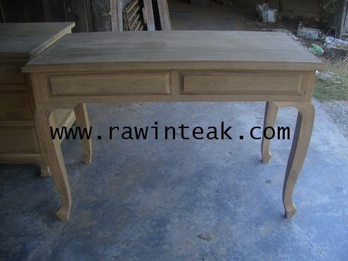 โต๊ะทำงานไม้สักขานก 2 ลิ้นชัก