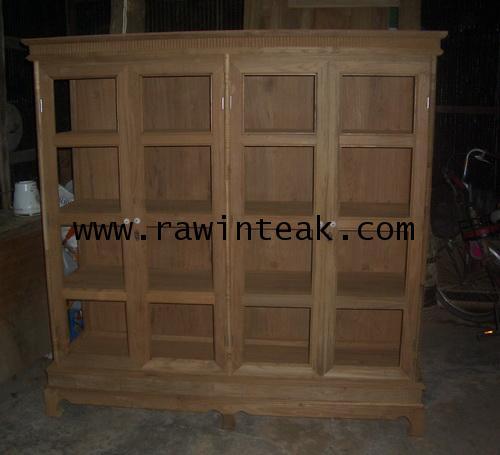 ตู้โชว์ไม้สัก 4 บานประตู