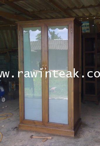 ตู้เสื้อผ้าไม้สัก ประตูกระจก 2 บานเปิด