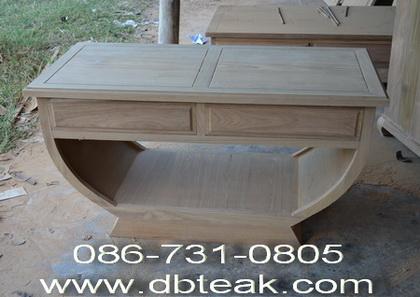 โต๊ะไม้สัก โต๊ะชามไม้สัก 2 ลิ้นชัก