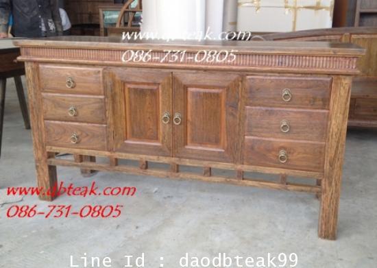 ตู้วางทีวีไม้สัก ตู้ไซด์บอร์ดไม้สัก  ตู้เก็บของไม้สัก 6ลิ้นชัก  2 บานประตู