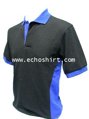 P033 เสื้อโปโลตัดต่อแถบข้าง ผลิตเสื้อโปโล โรงงานผลิตเสื้อโปโลครบวงจร เสื้อโปโลสั่งผลิต