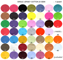 TS001 ตารางสีผ้า เสื้อคอกลม เนื้อเรียบ COTTON 20 SEMI เสื้อคอกลมพร้อมสกรีน silk screen, sublimation,