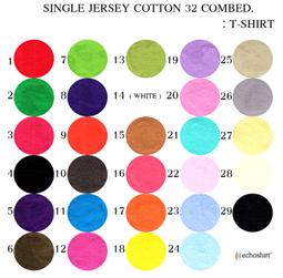 TS002 ตารางสีผ้า เสื้อคอกลม เนื้อเรียบ COTTON 32 COMB เสื้อคอกลมพร้อมสกรีน silk screen, sublimation,