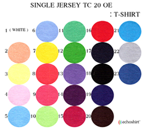 TS003 ตารางสีผ้า เสื้อคอกลม เนื้อเรียบ TC 20 OE เสื้อคอกลมพร้อมสกรีน silk screen, sublimation, heat