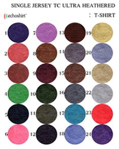 TS004 ตารางสีผ้า เสื้อคอกลม เนื้อเรียบ สีฟอกเก่า TC ULTRA HEATHERED  เสื้อคอกลมพร้อมสกรีน silk scree