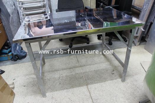 โต๊ะพับสแตนเลส รุ่นพิเศษ โครงไม้ยาง รับน้ำหนักได้ดี ขนาด 115  150  180  cm