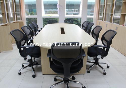 โต๊ะประชุมทรงแคปซูล ขาไม้ เจาะรูรอดสาย จำนวน 8-10 ที่นั่ง มีขนาด 180/200/240 CM รหัส 931