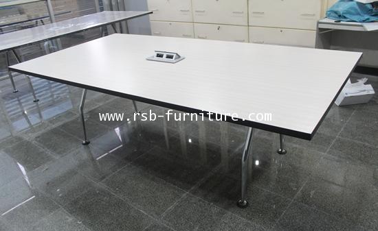 โต๊ะประชุม ขาเหล็กตัว V จำนวน 6-8 ที่นั่ง W240XD120 CM TOPลามิเนต รหัส 1111