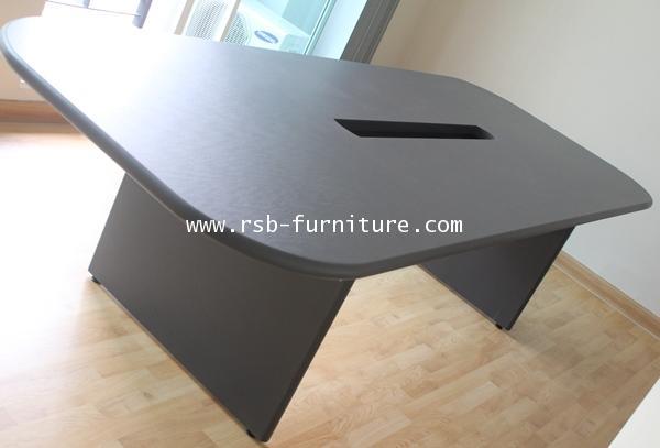 โต๊ะประชุมทรงเหลี่ยม 6-8 ที่นั่ง ลบมุม 4 ด้าน 240X120 CM ทำกล่องเก็บปลั๊กไฟ รหัส 1181