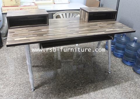โต๊ะทำงาน โต๊ะผู้บริหาร ขาเหล็กตัว V เสริมกล่องใส่ของบนโต๊ะ