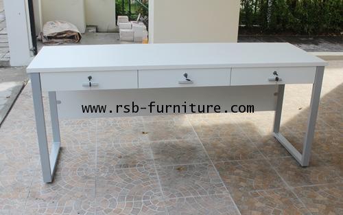 โต๊ะทำงาน ขาเหล็กกล่องตัว C ทำ 3ลิ้นชักเรียงยาวบน W180XD60CM รหัส 1215