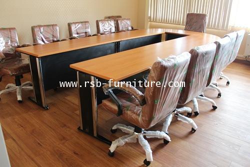 โต๊ะประชุมตัวต่อรูปตัวยู ขาเหล็ก ขนาด 10-13 ที่นั่ง W360XD180CM รหัส 1249