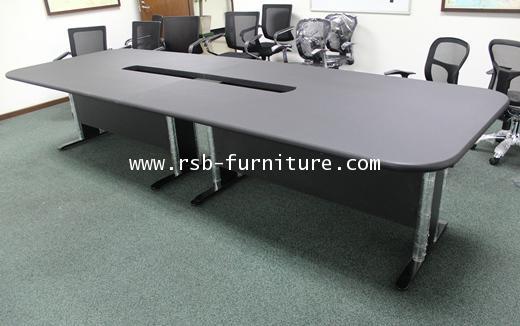 โต๊ะประชุม ตัวต่อ 4 ขา เจาะรูรอดสาย มีขนาด W 300 / 350 / 400 / 480 cm  รหัส 1264