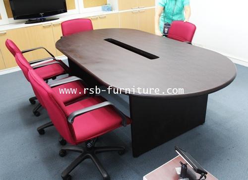 โต๊ะประชุมรูปไข่ จำนวน 6-10 ที่นั่ง ขนาด 230*120 cm ขอบมนหนา 36 mm