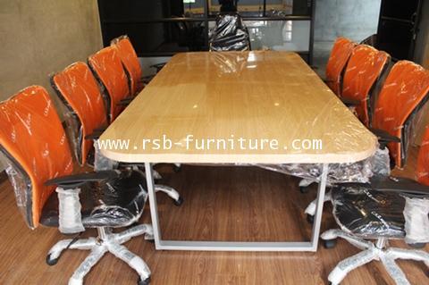 โต๊ะประชุมทรงเหลี่ยม ลบมุม จำนวน 6-10 ที่นั่ง 230 cm TOP หนา 36 mm