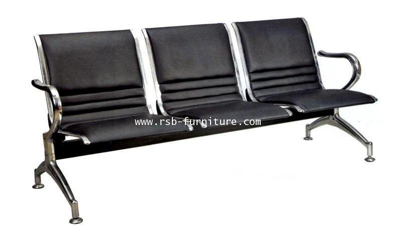 เก้าอี้แถวสำนักงาน รุ่นขายดี โครงเหล็กชุบโครเมี่ยม หุ้มด้วยเบาะหนัง รหัส 1380 มี 2, 3, 4 ที่นั่ง ราค