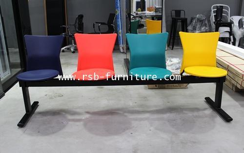 เก้าอี้แถวสำนักงานโพลี คานเหล็กพ่นดำ มี 2 / 3 / 4 ที่นั่ง รหัส 574