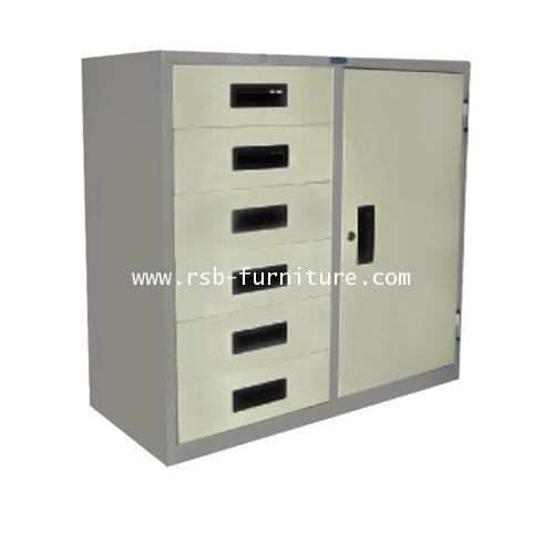 ตู้เหล็ก 1บานเปิด 6ลิ้นชัก W88 X D40.7 X H88 CM รุ่น RD-316 รหัส 1436