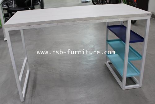 โต๊ะคอมพิวเตอร์ โต๊ะทำงาน  120 cm มีถาดเหล็กวางของ 3 ชั้น