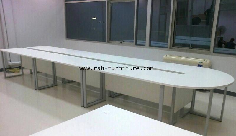 โต๊ะประชุมตัวต่อรูปตัวยู ขาเหล็กกล่อง จำนวน 18-22 ที่นั่ง ขนาด W615XD130 CM รหัส 1479