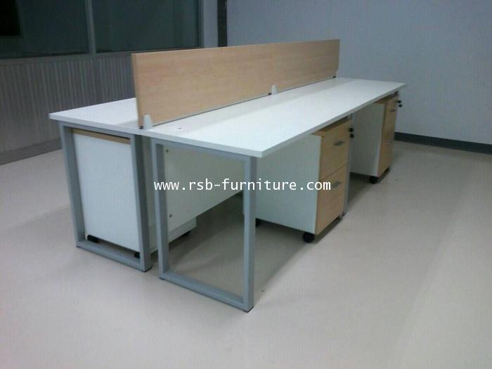 โต๊ะทำงานขาตัวCแบบกลุ่ม 240CM มีฉากกั้นบนโต๊ะ + ตู้ลิ้นชักล้อเลื่อน รหัส 1480