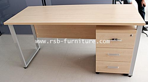 โต๊ะทำงาน ขาเหล็กกล่องตัว C ขนาด W.120 / 150 / 180 cm. + ตู้ลิ้นชักล้อเลื่อน รหัส 1367