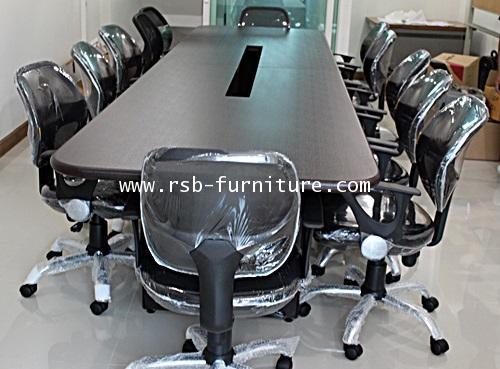 โต๊ะประชุมรูปไข่ จำนวน 6-10 ที่นั่ง ขนาด 230*120 cm เจาะรูรอดสาย