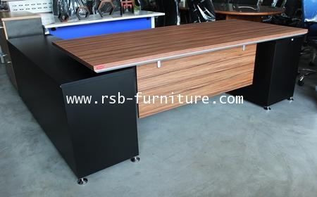 โต๊ะผู้บริหาร +ตู้ไซด์บอร์ด ขนาด W225XD202CM ตรงเลขฮวงจุ้ยตลับเมตรแดง เมลามีนสีพิเศษ รหัส 1600