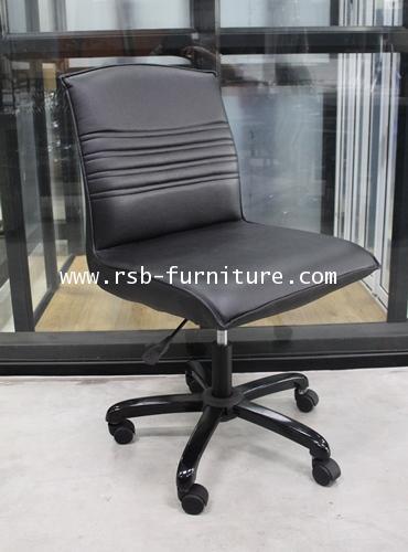 เก้าอี้สำนักงาน แบบไม่มีแขน รุ่น 1638 ขาเหล็กสีดำเงา