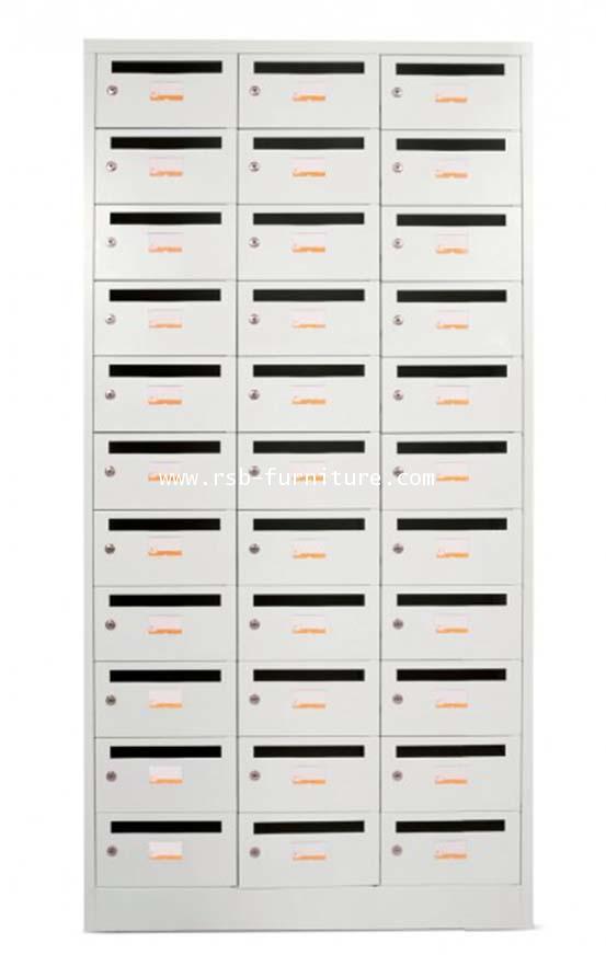 ตู้ล็อคเกอร์เหล็ก 33 ช่อง เจาะช่องใส่เอกสารขนาด A4 พร้อมกุญแจล็อค (LK33KP, TAIYO) รหัส 1728