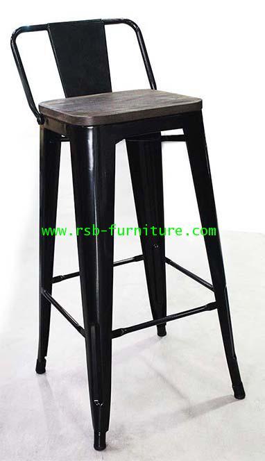 เก้าอี้บาร์เหล็ก LOFT ที่นั่งไม้ รหัส 1790