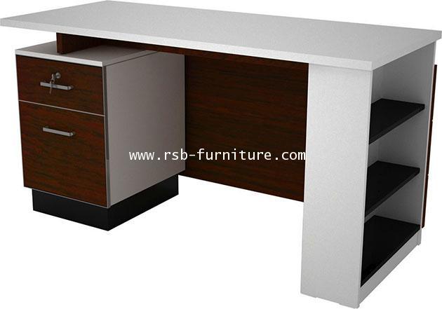โต๊ะทำงาน 2ลิ้นชัก+กล่องชั้นวาง W140XD60 CM รหัส 1654