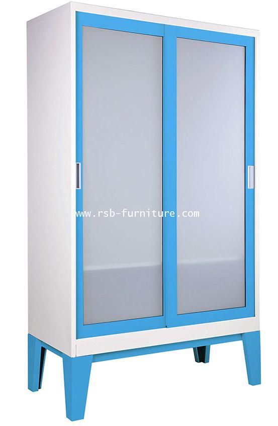 ตู้เสื้อผ้าเหล็ก บานเลื่อนกระจกเงาหรือฝ้า KIOSK รุ่น WD-05 ขนาด W120XD56XH200CM รหัส 1806