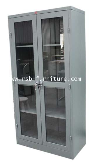 ตู้เหล็กบานเปิดกระจกสีเมทัลลิค KSG-183 รหัส 1200