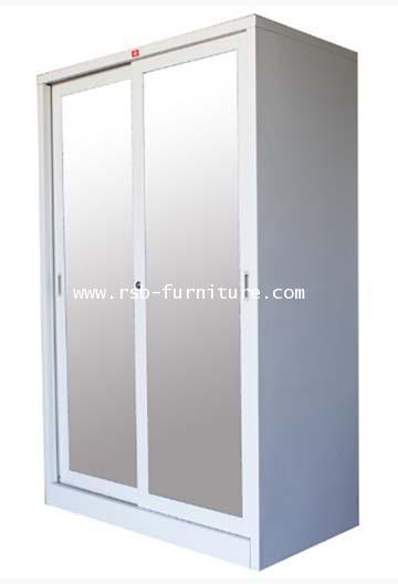 ตู้เสื้อผ้าเหล็กบานเลื่อนกระจกเงา รหัส 1905