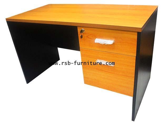 โต๊ะทำงาน ขาไม้ 2 ลิ้นชัก เมลามีน รหัส 1144 ขนาดกว้าง 80 / 120 / 150 / 180 cm