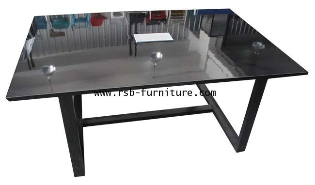 โต๊ะประชุมขาเหล็กหนา ผิวลามิเนต GLOSS + กล่องปลั๊กไฟ W180XD120CM รหัส 1972