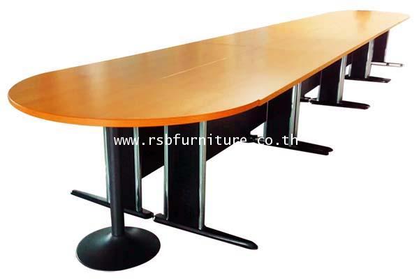 โต๊ะประชุม ทรงแคปซูล ขาเหล็ก 8-10 ที่นั่ง 330-360 x120 cm ผิวเมลามีน รหัส 2049