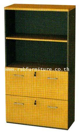 ตู้เอกสาร4ชั้น 2ชั้นโล่งบน 2ชั้นล่างลิ้นชักใส่แฟ้มแขวนได้ W90xD40xH160cm เมลามีน รหัส 2083