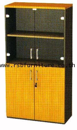 ตู้เอกสาร 4 ชั้น 2 ชั้นบนบานเปิดกระจก 2 ชั้นล่างบานเปิดทึบ ขนาด 80 x 40 สูง 160 cm เมลามีน รหัส 2104